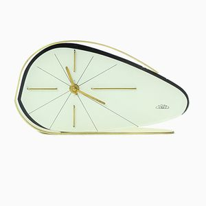 Czechoslovakian White Clock by Prim, 1950s