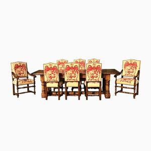 Antiker Refektorium Esstisch aus Eiche mit 8 Esszimmerstühlen Set