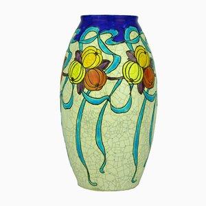 Art Deco Vase mit Motiv mit blauen Schleifen und Kürbissen von Charles Catteau für Boch Frères, 1920er