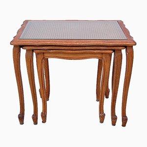 Tavolini ad incastro con ripiano in canna, anni '50