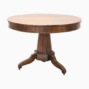 Runder antiker Tisch aus Nussholz, 1810er