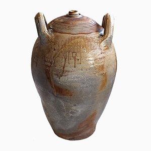Großer antiker französischer Behälter für Olivenöl oder Wein aus glasiertem Steingut
