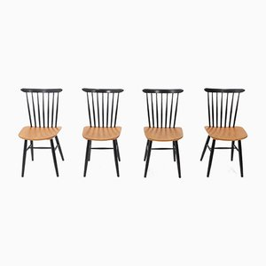 Plywood Spindle Back Chairs, 1950s, Set of 4