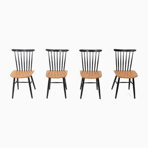 Stühle mit spindelförmigen Rückenlehnen aus Sperrholz, 1950er, 4