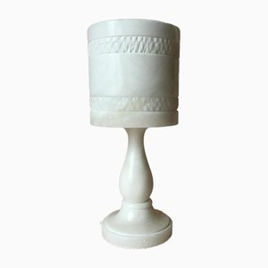 Vintage Swedish White Solid Alabaster Table Lamp