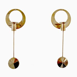 Swedish Brass Wall Mounted Candleholders by Arthur Pe for Kolbäck, 1950s, Set of 2