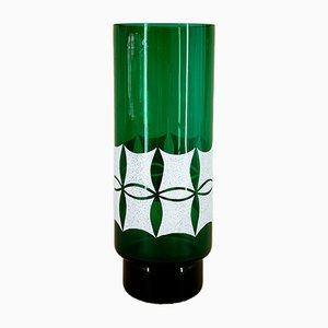 Jarrón de cristal verde de VEB Kunst Glas Wasungen, años 60