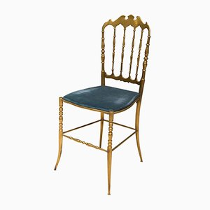 Chiavari Chair in Brass & Blue Velvet by Giuseppe Gaetano Descalzi, 1950s