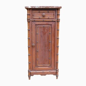 Antique Faux Bamboo Bedside Cabinet with Marble Top