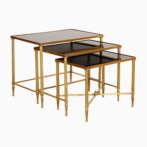 French Brass and Black Mirror Glass Nesting Tables, 1970s
