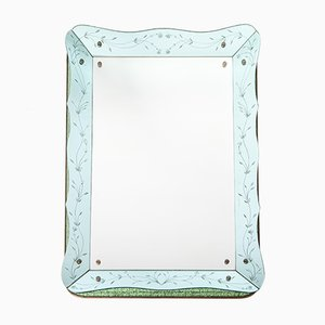 Venetian Turquoise Mirror with Tile Decor, 1970s