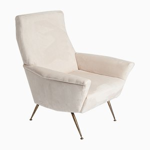 Italian Sputnik Armchair in Off-White, 1950s