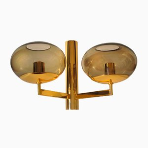 Vintage Smoked Glass & Gilded Metal Wall Sconce by Gaetano Sciolari