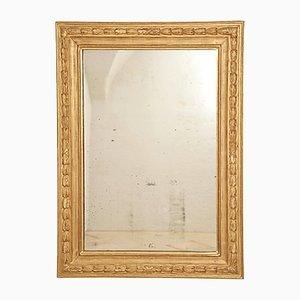 Specchio grande Luigi XVI con fregio in foglia d'oro, anni '90