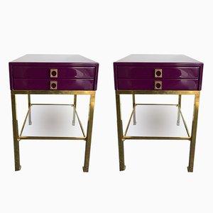 Tables d'Appoint Laquées par Guy Lefèvre pour Maison Jansen, France, 1970s, Set de 2