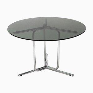 Mesa de comedor italiana Mid-Century de metal cromado y vidrio, años 70