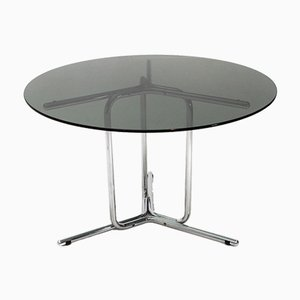 Mid-Century Italian Chrome & Glass Dining Table, 1970s