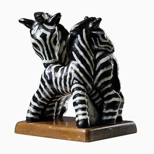 Escultura Zebra de Vicke Lindstrand para Upsala Ekeby, años 40