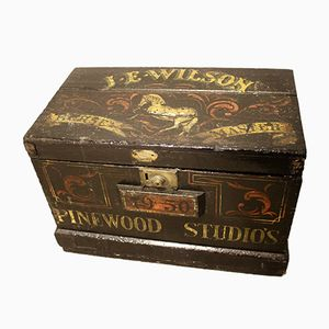 Pinewood Film Studios Painted Horse Masters Trunk in Pine, 1950s