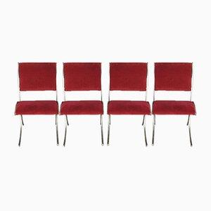 Vintage Esszimmerstühle aus Chrom mit roten Samtbezügen von Maison Jansen, 4er Set