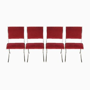 Vintage Red Velour & Chrome Dining Chairs from Maison Jansen, Set of 4