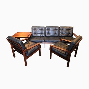 Capella Lounge Set in Rosewood & Leather by Illum Wikkelso for Niels Eilersen, 1960s