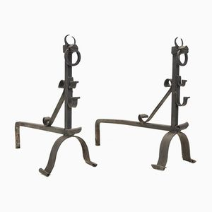 Mid-Century Wrought Iron Dragon Andirons, Set of 2