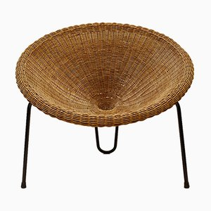 Mid-Century Rattan Wicker Lounge Chair