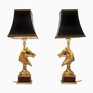 Lámparas de madera y latón en forma de caballo de Maison Charles, años 70. Juego de 2