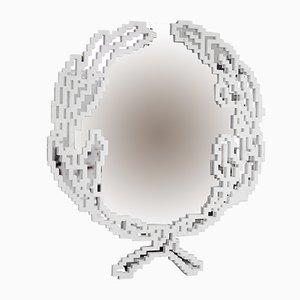 Kleiner italienischer Emblema Spiegel mit Rahmen aus Bianco Statuario Marmor von Michele Chiossi für MMairo