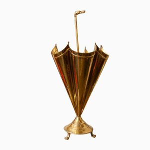 Vintage French Brass Umbrella Stand, 1940s