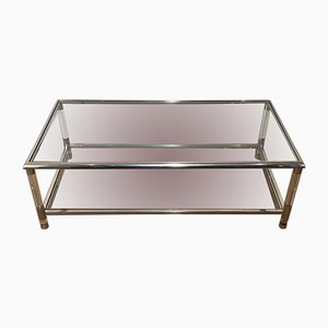 Large Lucite & Chrome 2-Tiers Coffee Table, 1970s