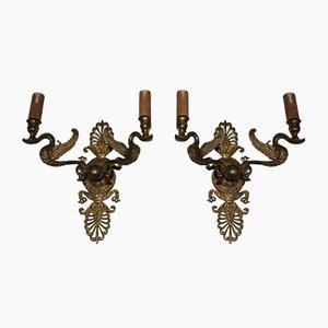 Applique in bronzo dorato con cigni, Francia, anni '20, set di 2