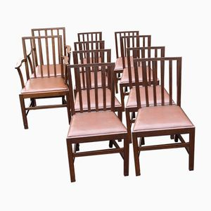 Oak and Leather Dining Chairs, 1920s, Set of 10