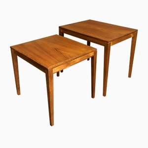 Mid-Century Danish Teak Nesting Tables by Bent Silberg Mobler, Set of 2