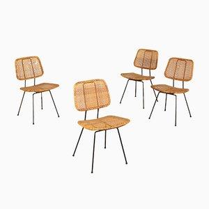 Chaises en Métal Laqué et Rotin, Italie, 1960s, Set de 4