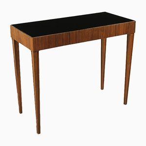Italian Console Table in Walnut & Glass, 1950s