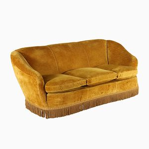 Mid-Century Italian Velvet Sofa with Fringes