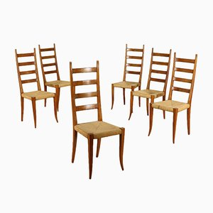 Italian Chairs in Stained Beech & Raffia, 1950s, Set of 6