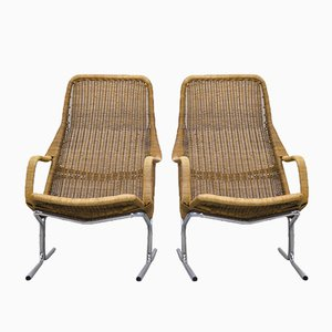 Wicker Lounge Chairs by Dirk van Sliedrecht for Rohé Noordwolde, 1961, Set of 2