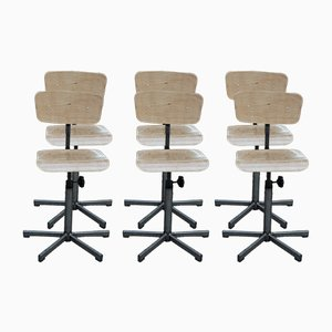 Adjustable Industrial Workshop Rotating Chairs, 1950s, Set of 6
