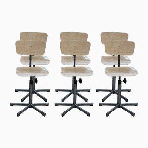 Chaises d'Atelier Rotatives et Ajustables Industrielles, 1950s, Set de 6