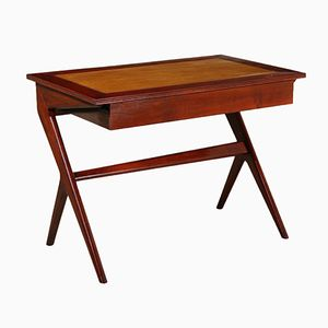 Italian Writing Desk in Solid Mahogany & Poplar, 1950s