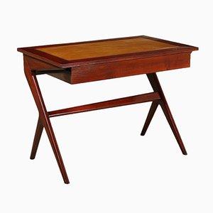 Massiver italienischer Schreibtisch aus Mahagoni & Pappelholz, 1950er