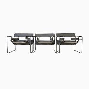 Bauhaus Gavina B3 Wassily Stühle von Marcel Breuer für Gavina, 1980er, 3er Set