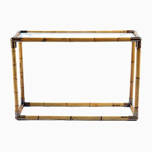 Mid-Century Brass and Bamboo Consoles by Banci Firenze for Banci, Set of 2