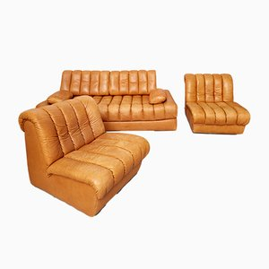 Vintage DS-85 Sofa Bed & 2 Armchairs from de Sede