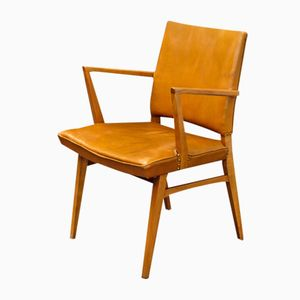 Armchair in Cognac-Colored Leather, 1950s