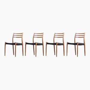 Model 78 Dining Chairs by Niels O. Møller for J.L. Møller, 1960s, Set of 4