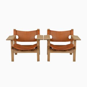 Oak & Saddle Leather Lounge Chairs by Hans J. Wegner for Federicia, 1960s, Set of 2